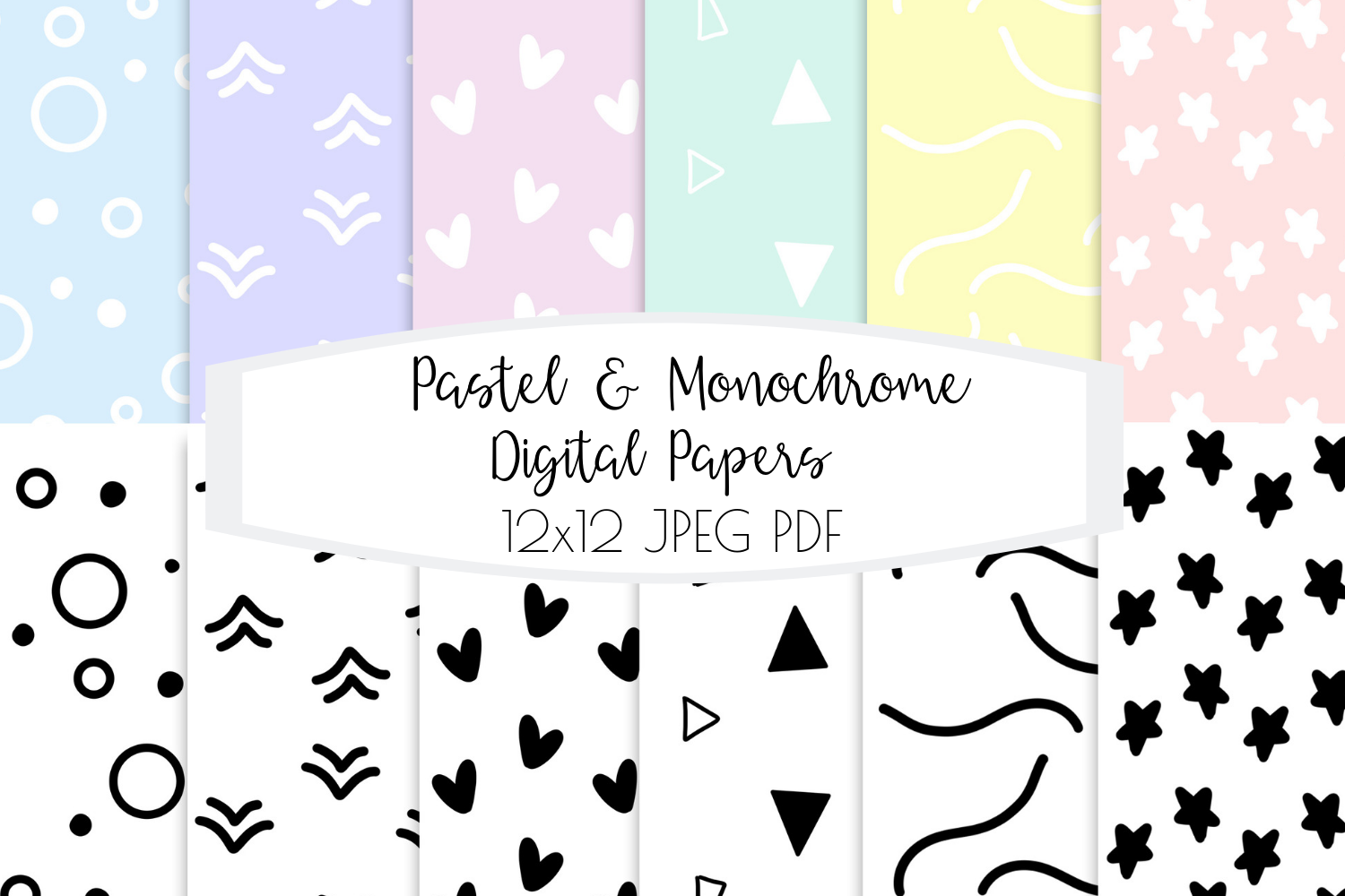 Pastel and Monochrome - Digital Papers for Scrapbooking / Pl example image 1