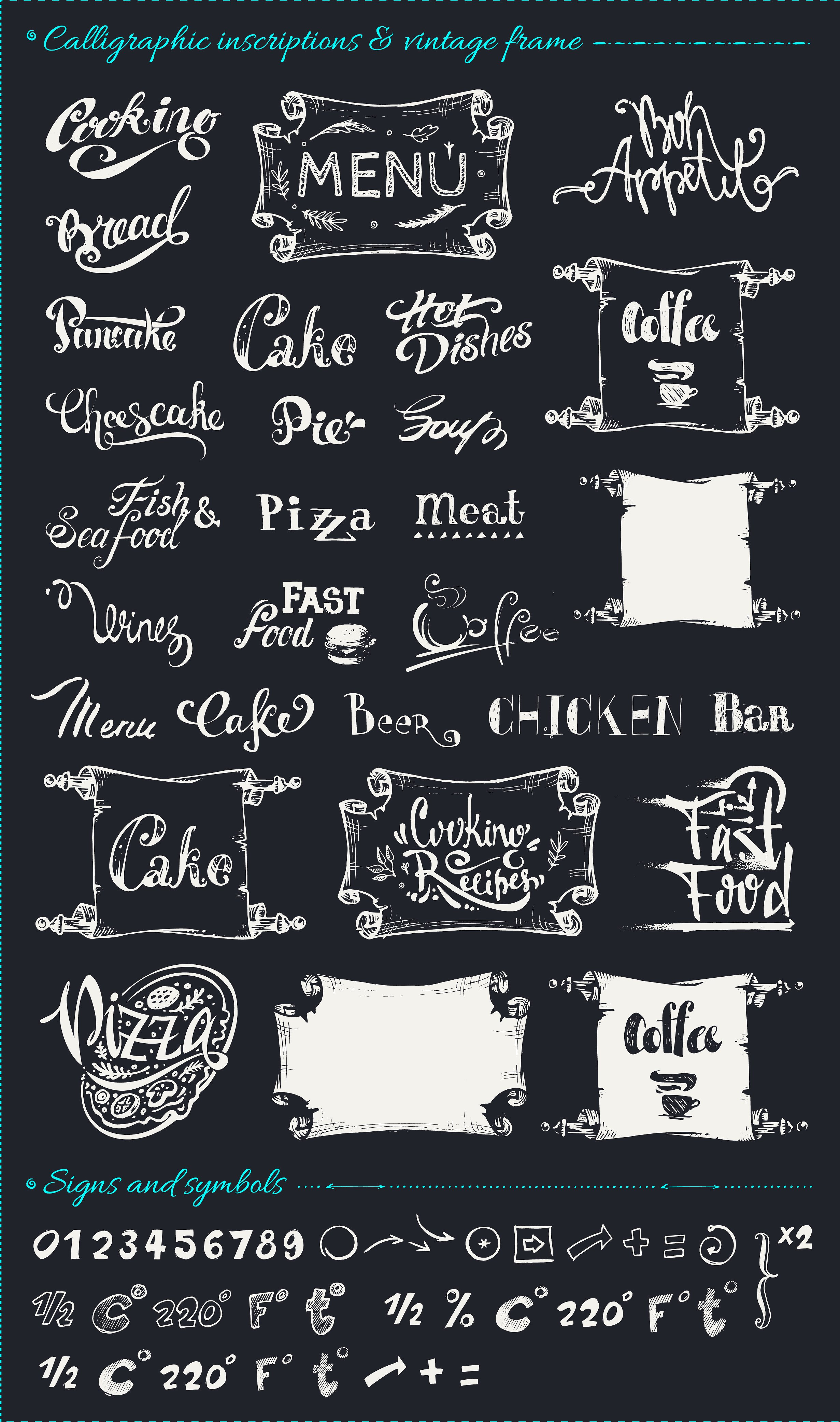Hand drawn cooking and food icons example image 8
