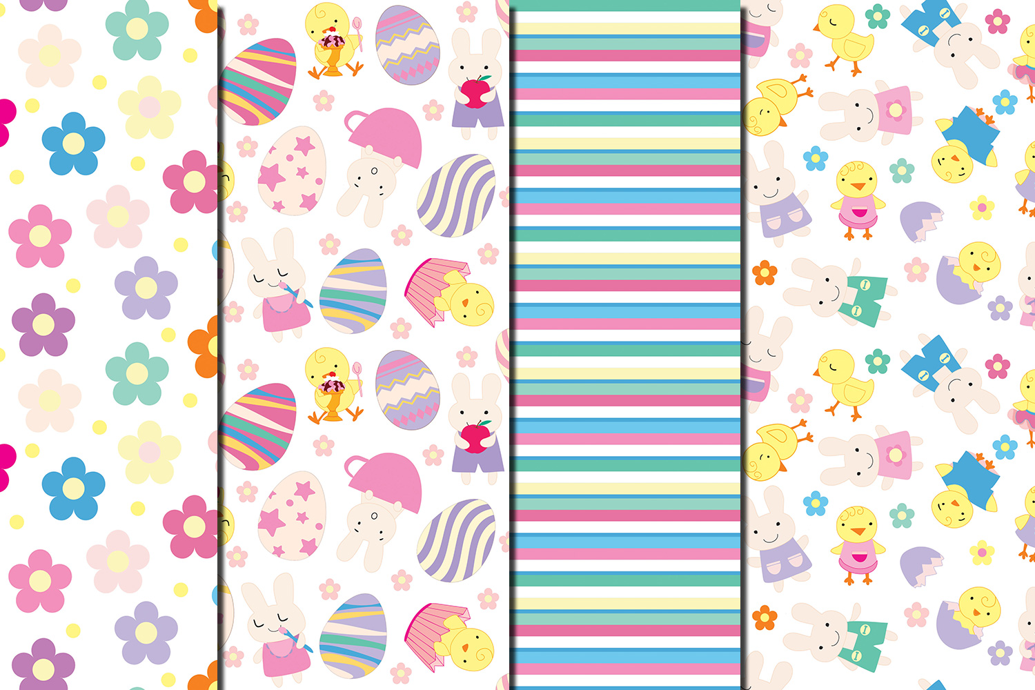 Happy Easter seamless digital paper pack example image 2