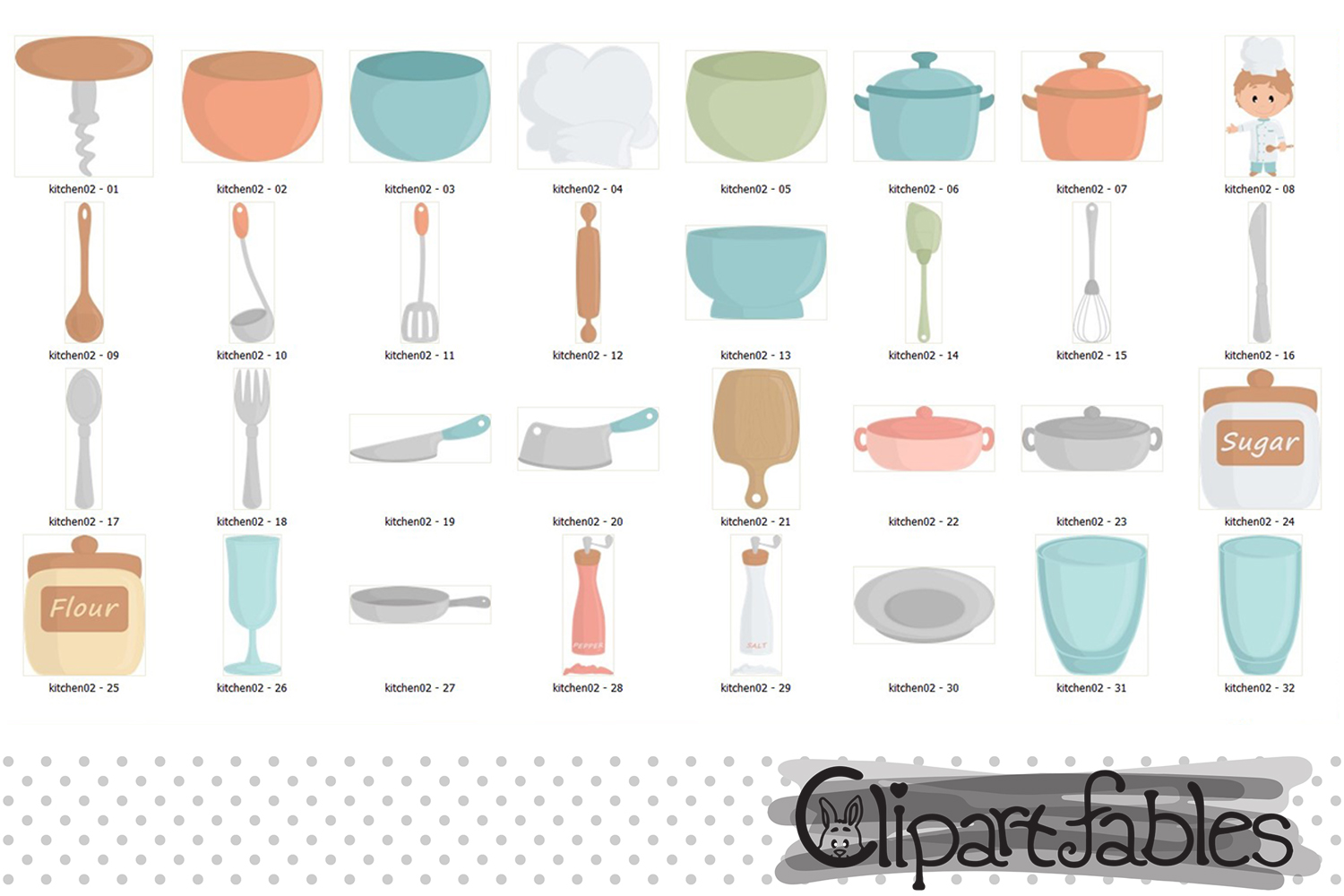 CHEF clipart, Kitchen aid, Cute kitchen party, Cutlery art example image 2