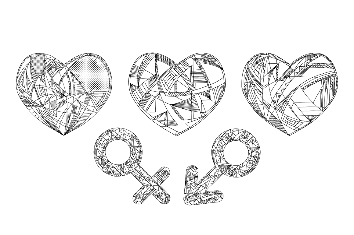 Hearts and gender symbols. LOVE vector collection. example image 4