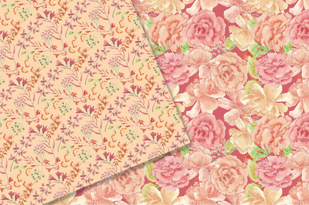 Watercolor patterns in coral flowers example image 2