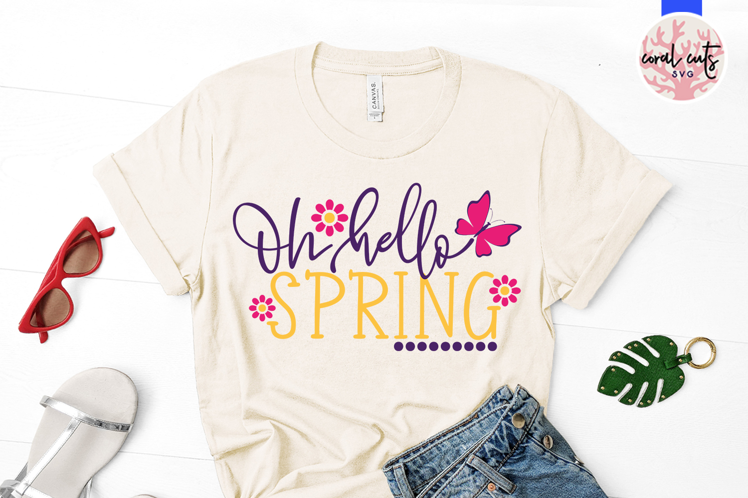 Oh hello spring - Easter SVG EPS DXF PNG Cutting File example image 2