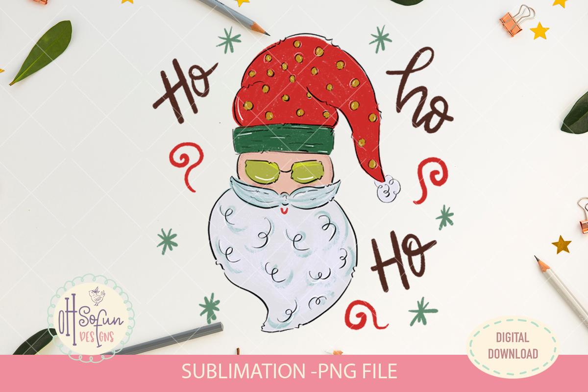 Santa claus ho ho ho, Christmas sublimation png, doodle example image 1