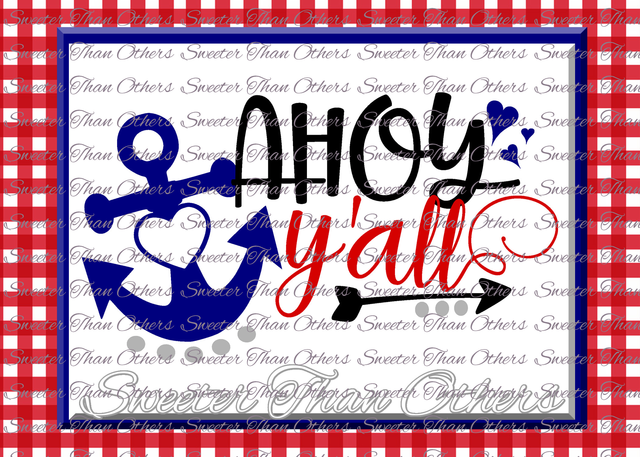 Ahoy Y'all SVG, Beach Svg, Summer beach pattern example image 1