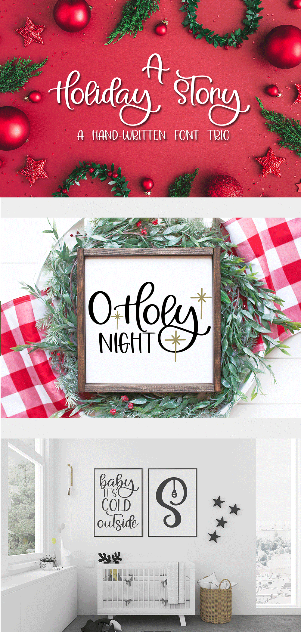 A Holiday Story - A Christmas Hand-Written Font Trio example image 11
