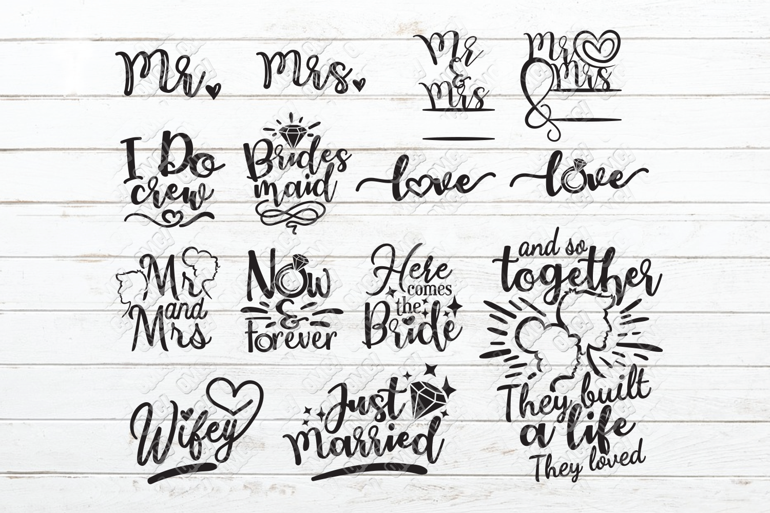 Wedding Day SVG Bundle #2 in SVG, DXF, PNG, EPS, JPEG example image 3