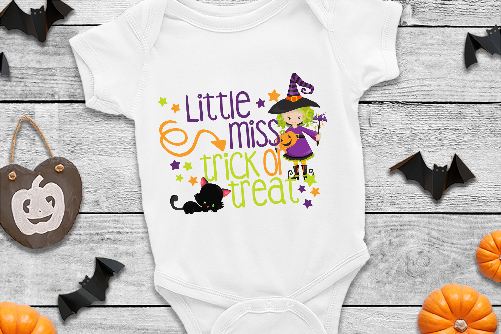 Little Miss Trick Or Treat SVG Sublimation, Halloween SVG example image 1