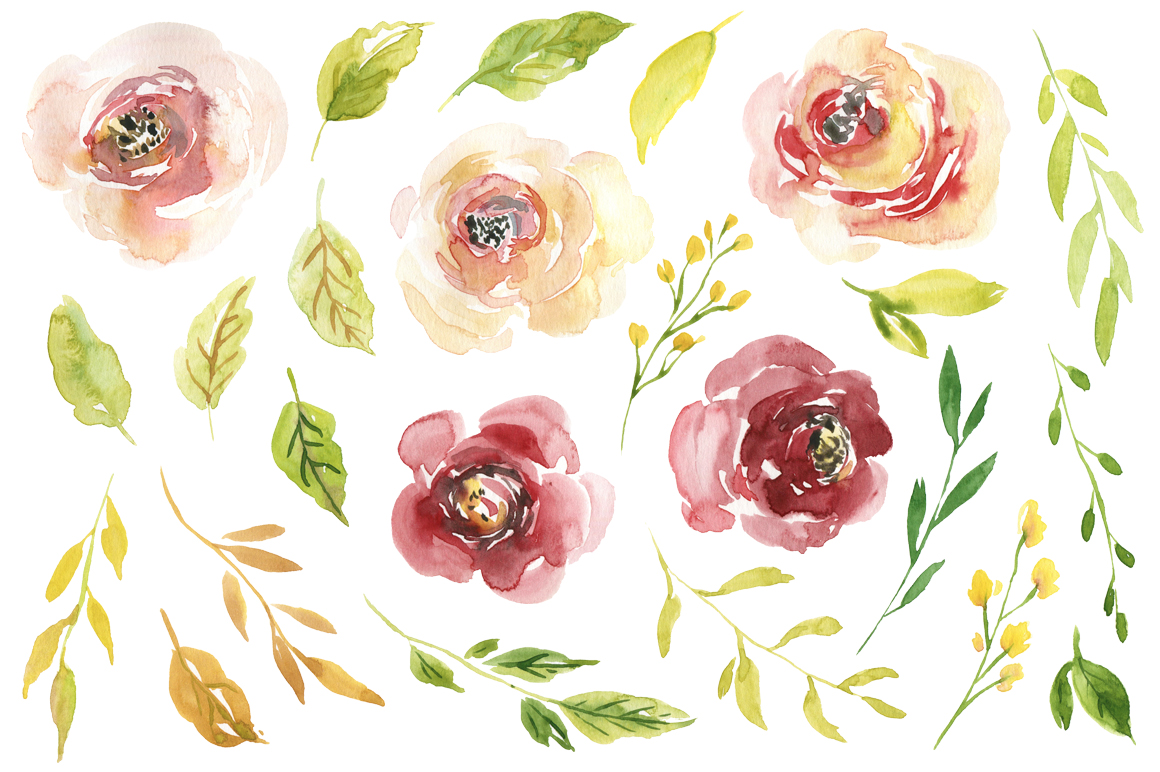 Watercolor burgundy & yellow white creamy flowers example image 2