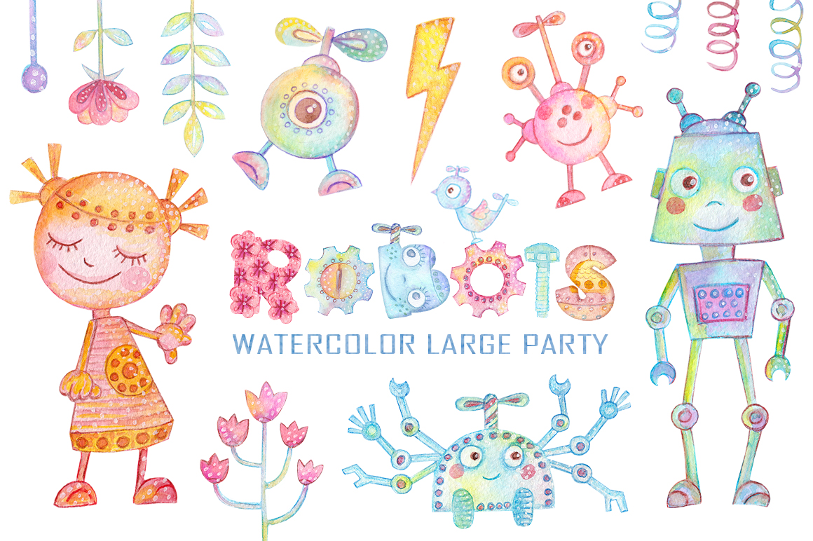 Watercolor Robots Party example image 1