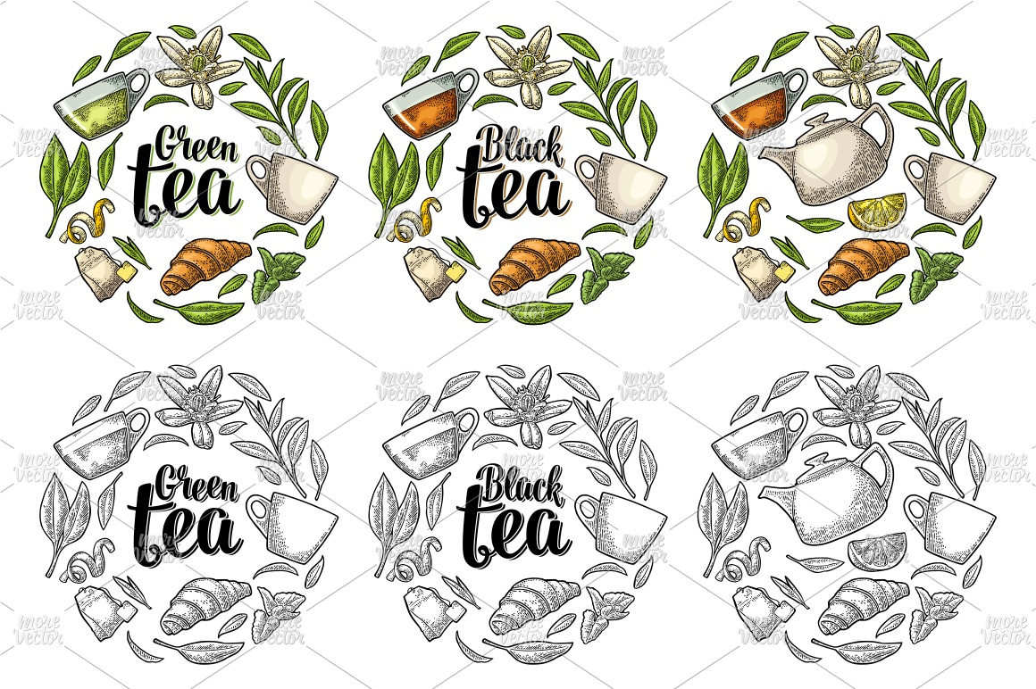 Set engraving illustration with lettering Black Green Tea. example image 1