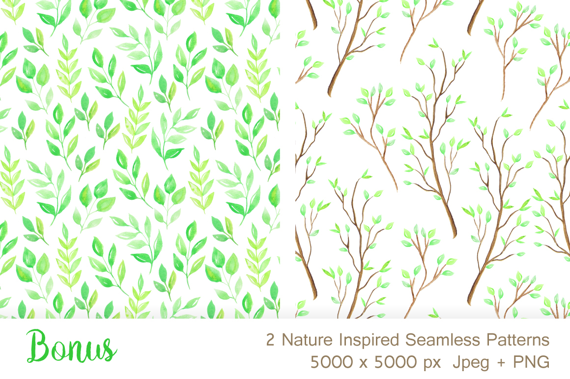 Watercolor Wooden Design Set example image 4