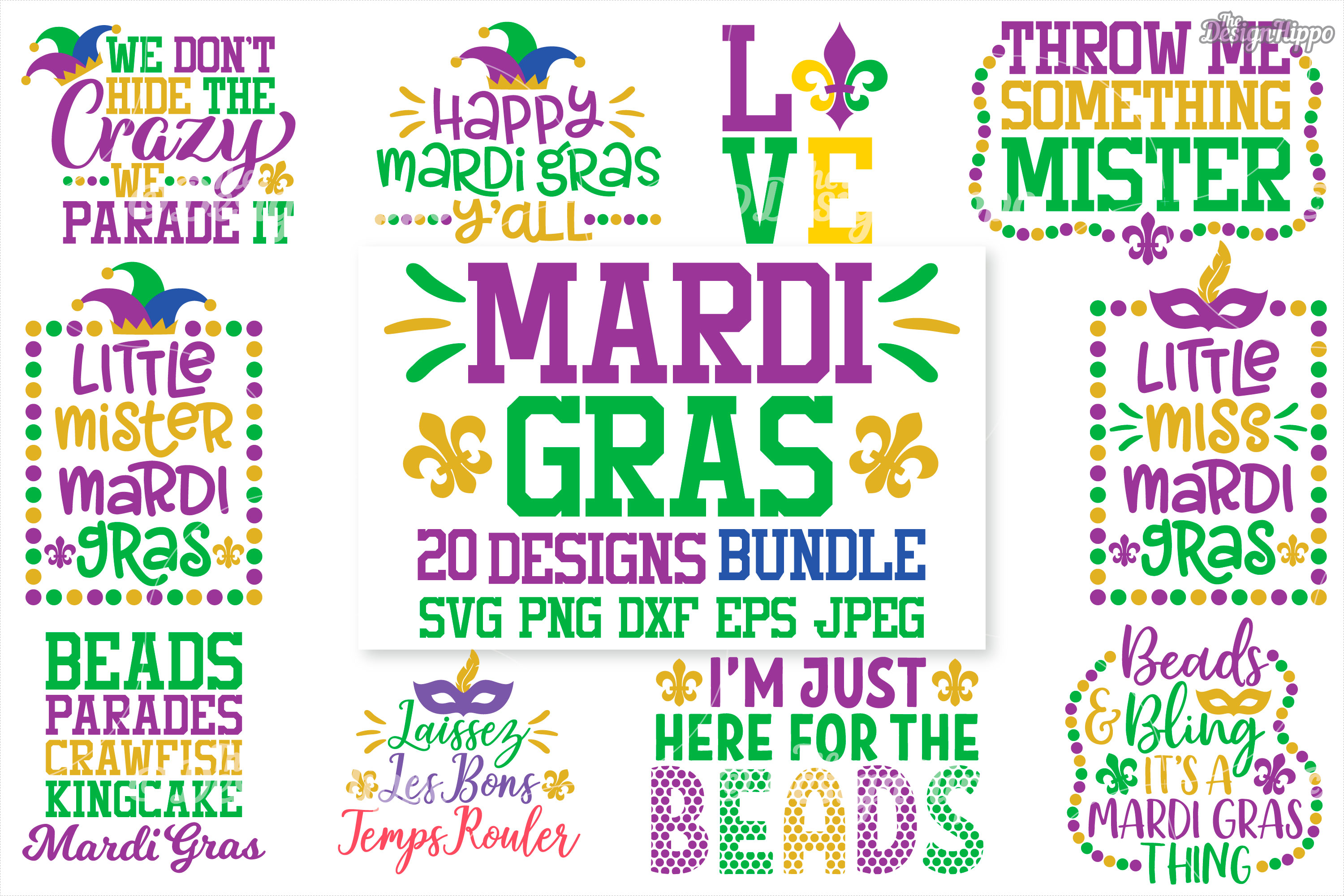 Mardi Gras SVG Bundle of 20 Designs, DXF, PNG, Cutting Files example image 1