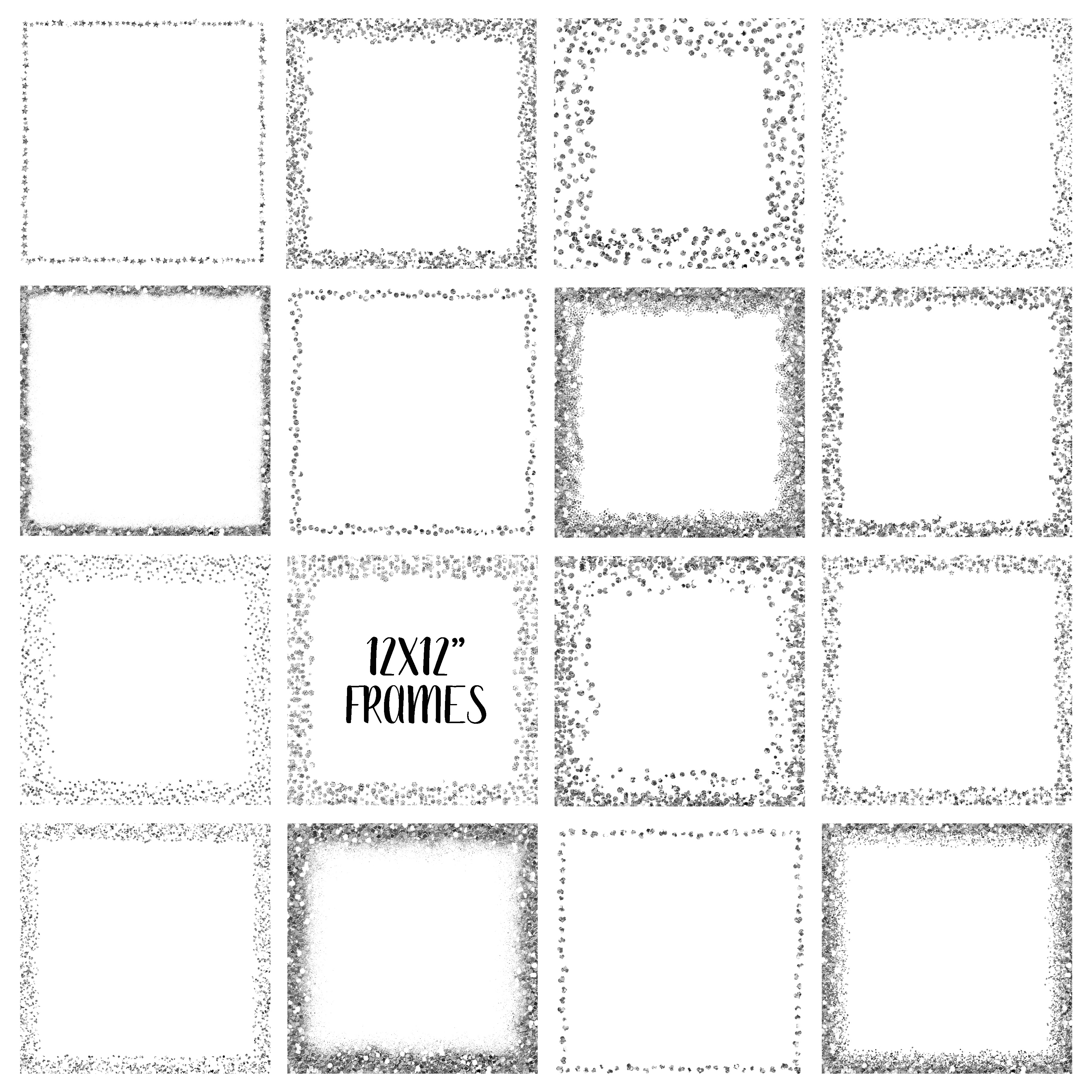 Silver Glitter Frames and Borders PNG Clipart Bundle