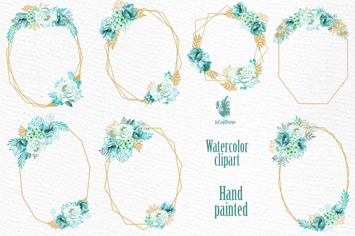 Geometric Frames clipart, GOLD MINT FRAMES, Mint Watercolor example image 2