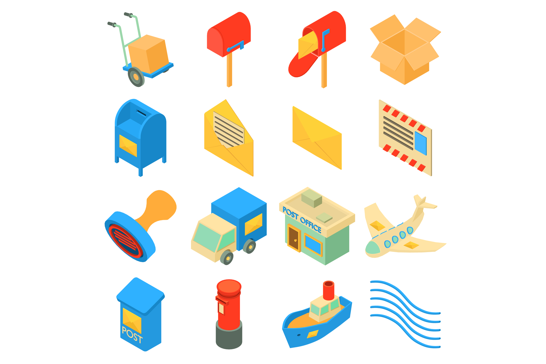 Poste service icons set, isometric style example image 1