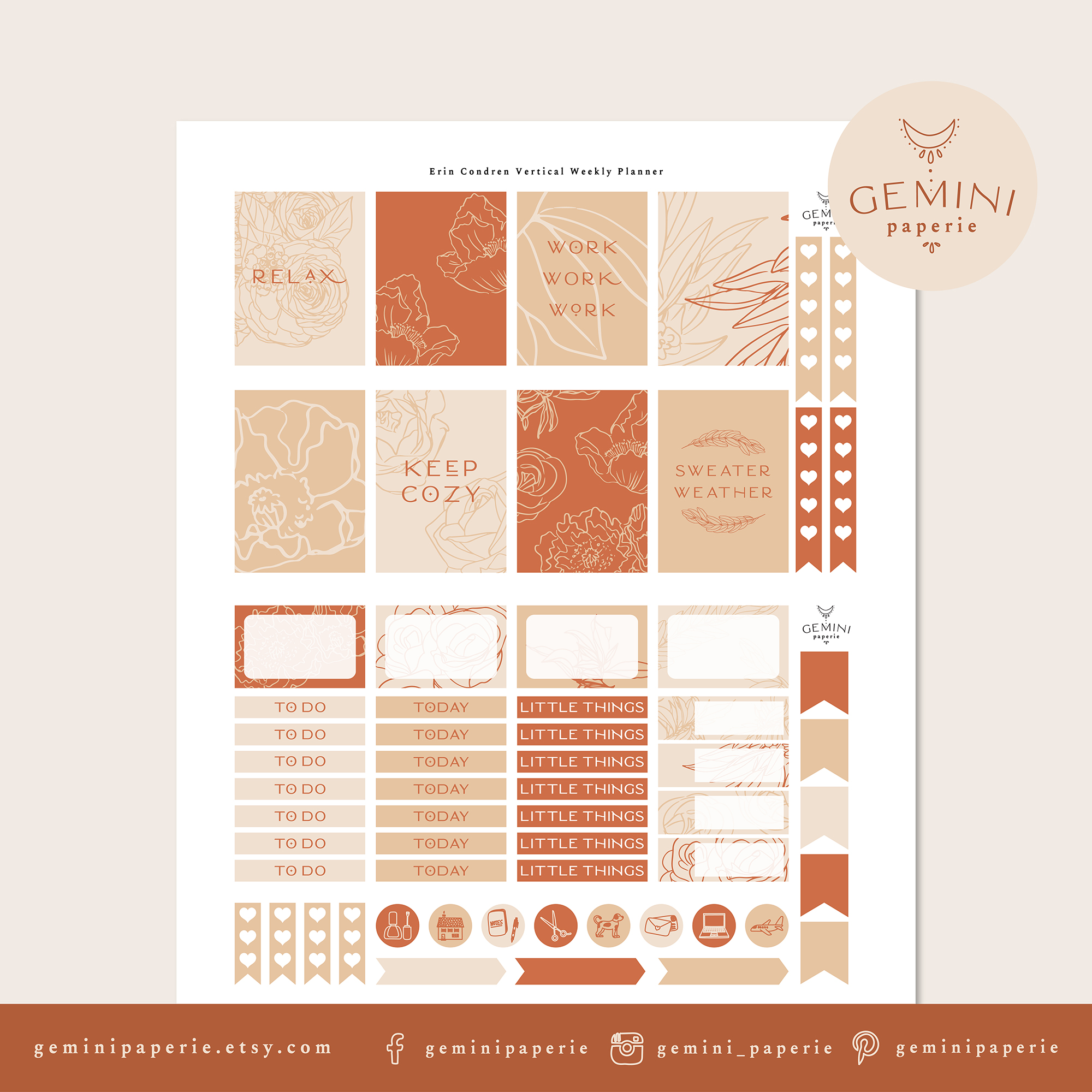 Printable Planner Stickers Weekly Kit for Erin Condren 2020 example image 2
