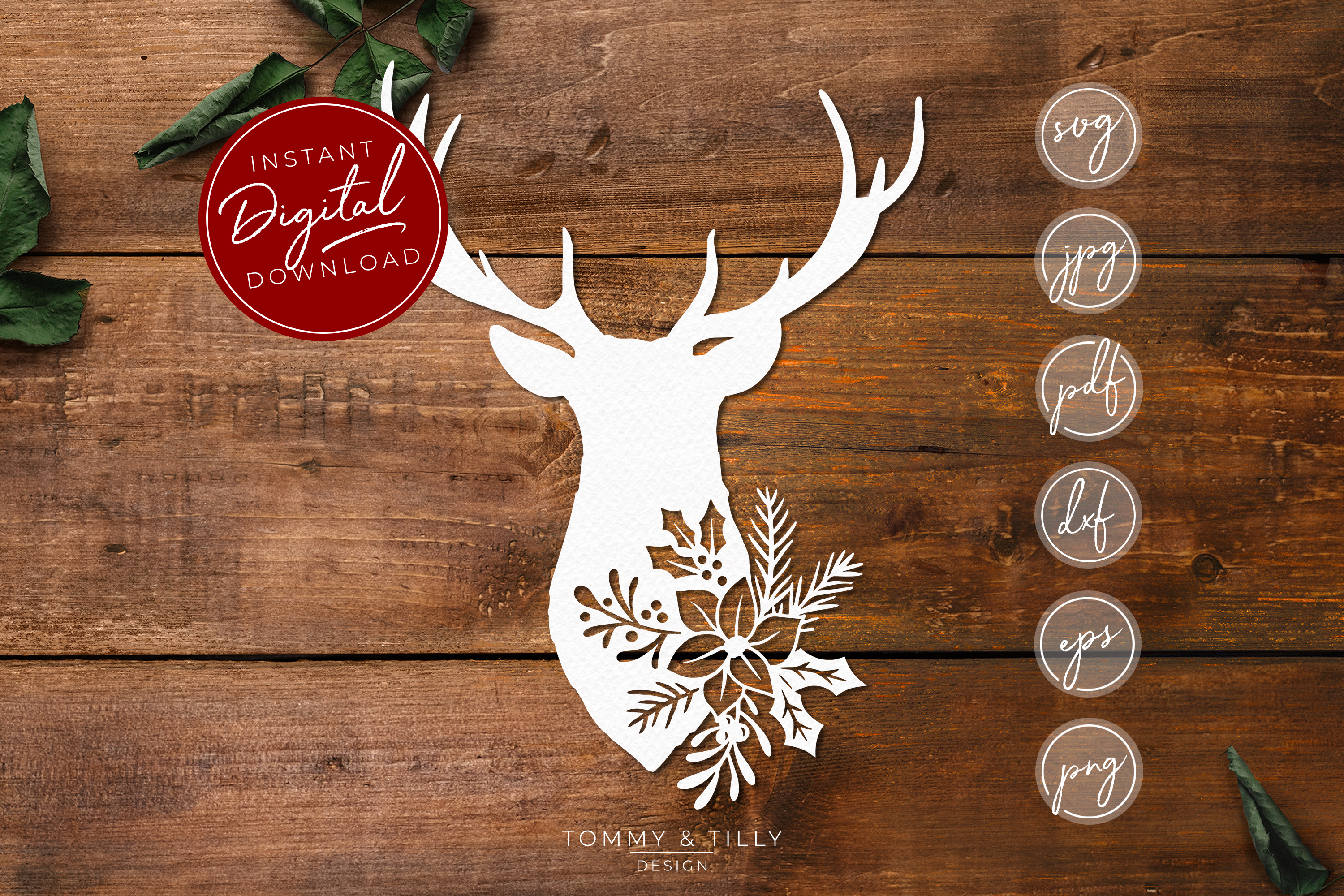 Stag Head No.1 - SVG EPS DXF PNG PDF JPG Cut File example image 1