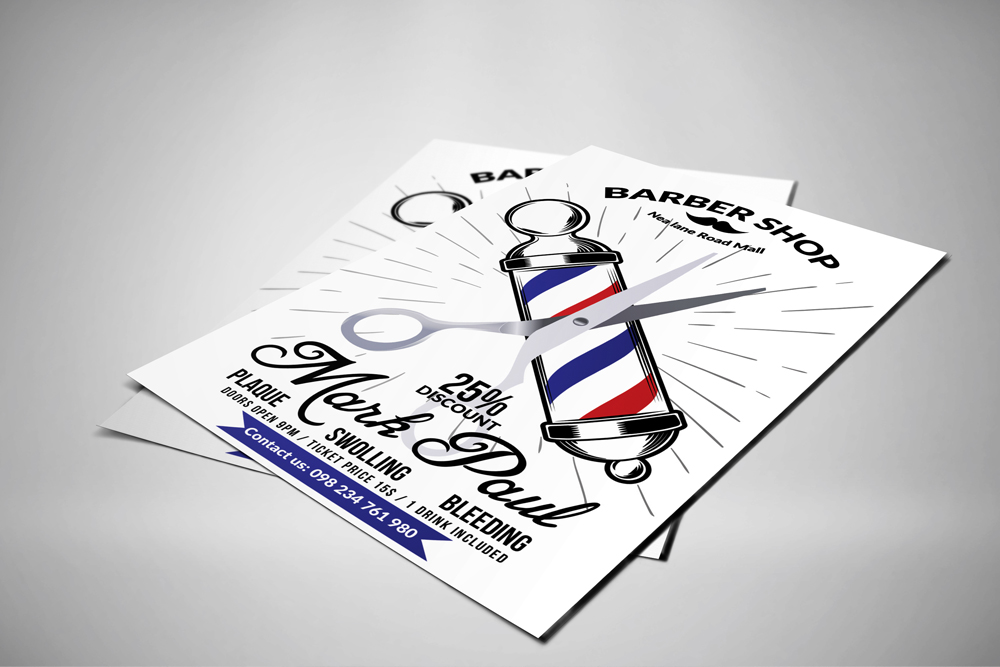 New Barber Shop Psd Flyer Templates example image 2