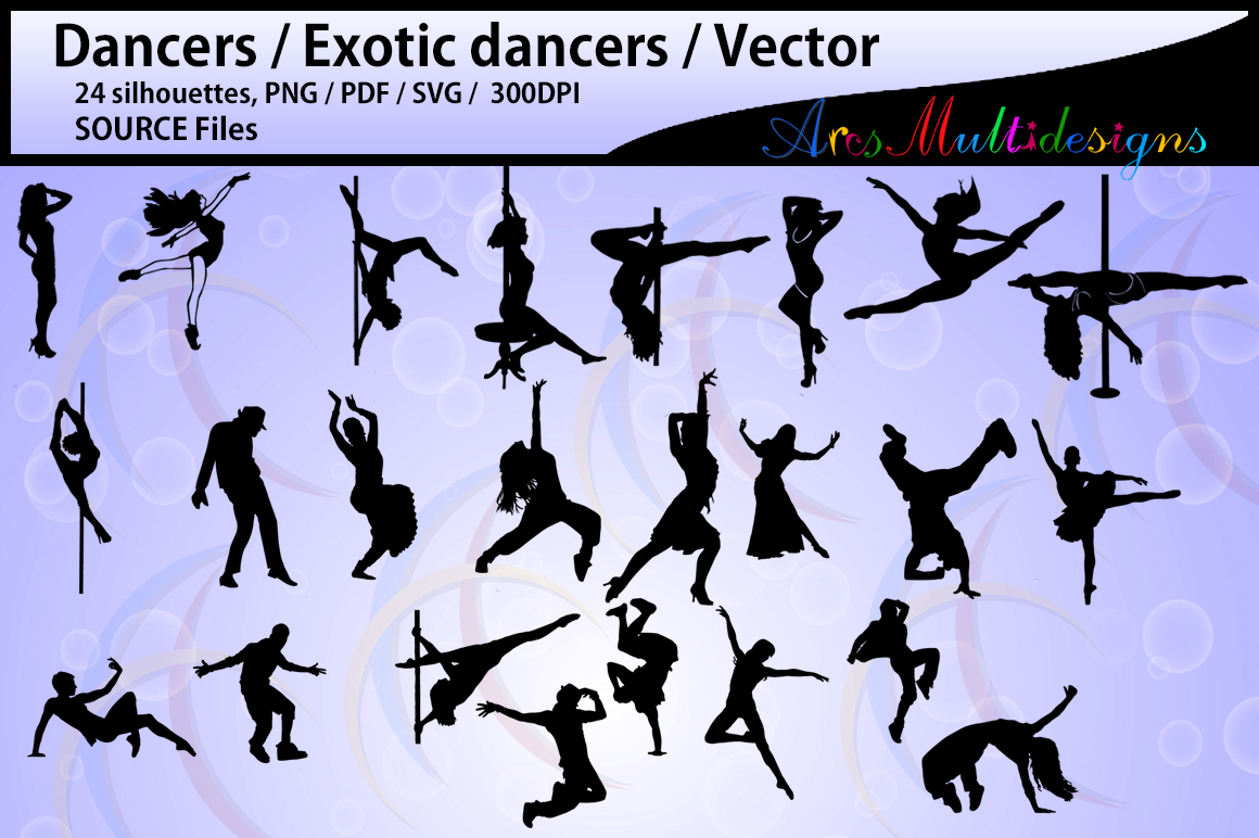 dancer silhouettes / HQ / SVG / PDF / Png / Dxf /silhouettes / vector dancer couples / female dancer / male dancer / instant download example image 1