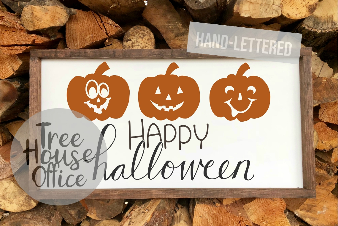 Happy Halloween Cute Pumpkin Front Porch Sign SVG PNG JPG example image 1