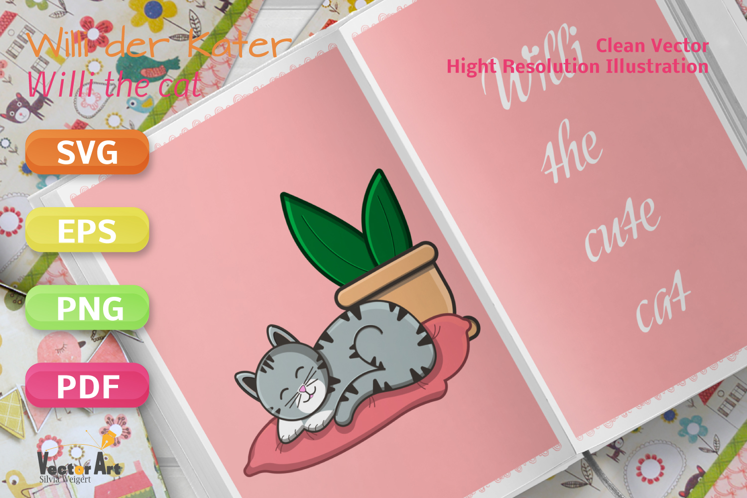 Sleeping Cat on Pillow with Succulent - File for Crafters example image 4
