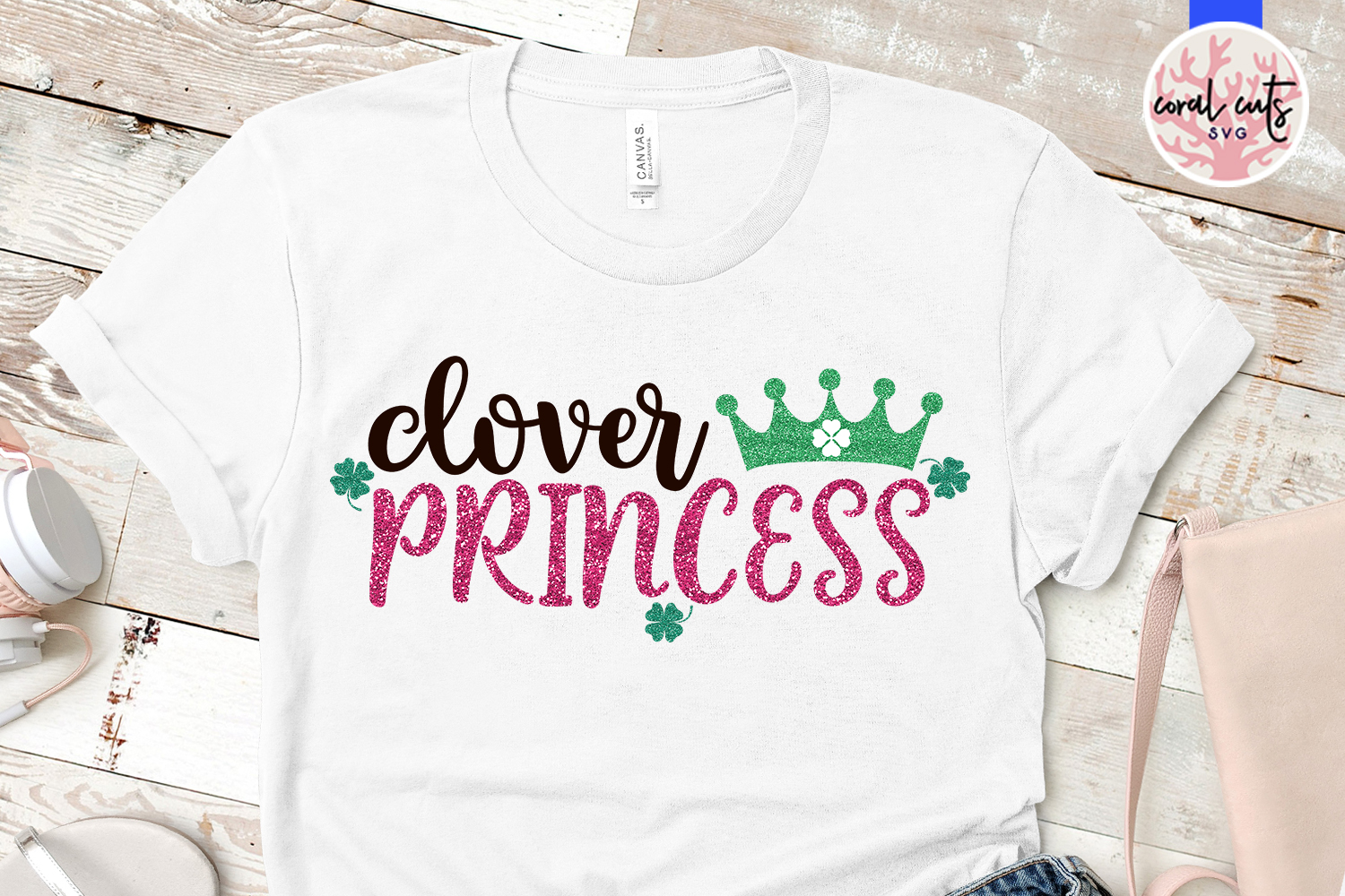 Clover princess - St. Patrick's Day SVG EPS DXF PNG example image 2
