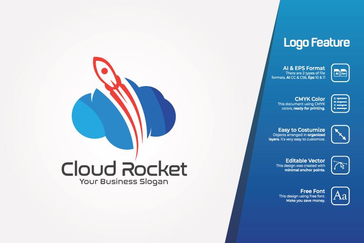 Cloud Rocket Logo Template example image 1