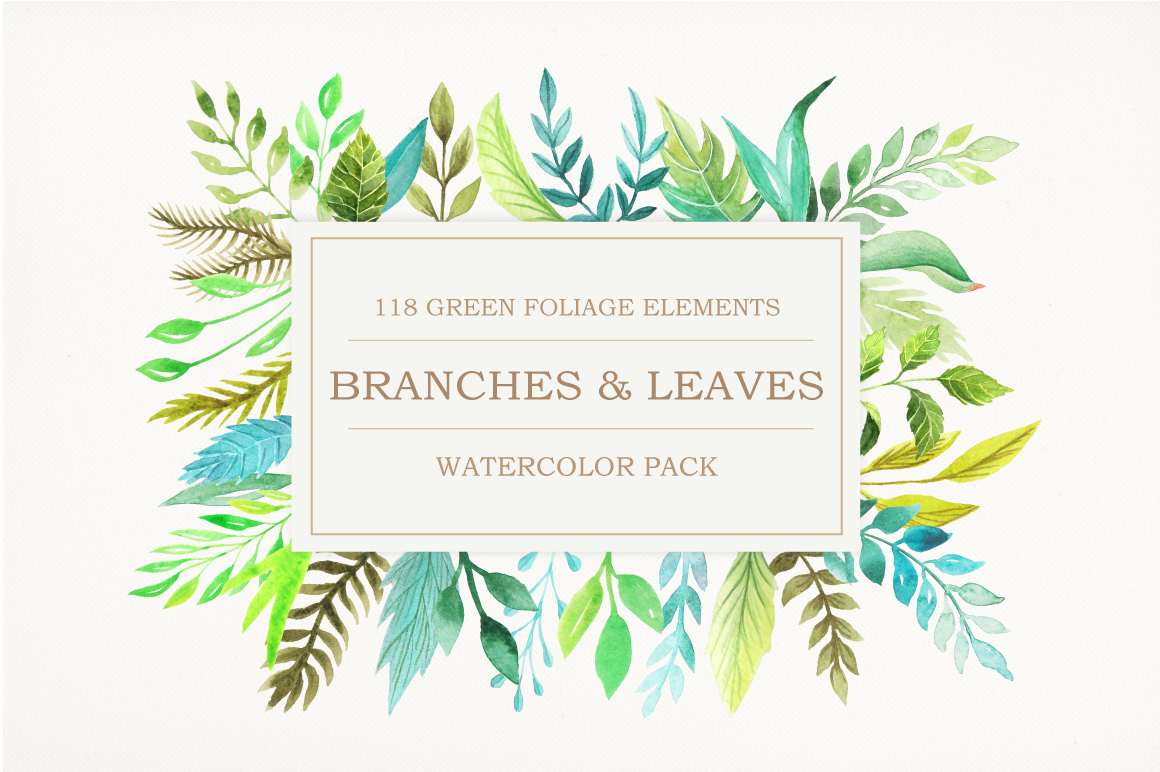 Watercolor Green Elements Pack example image 1