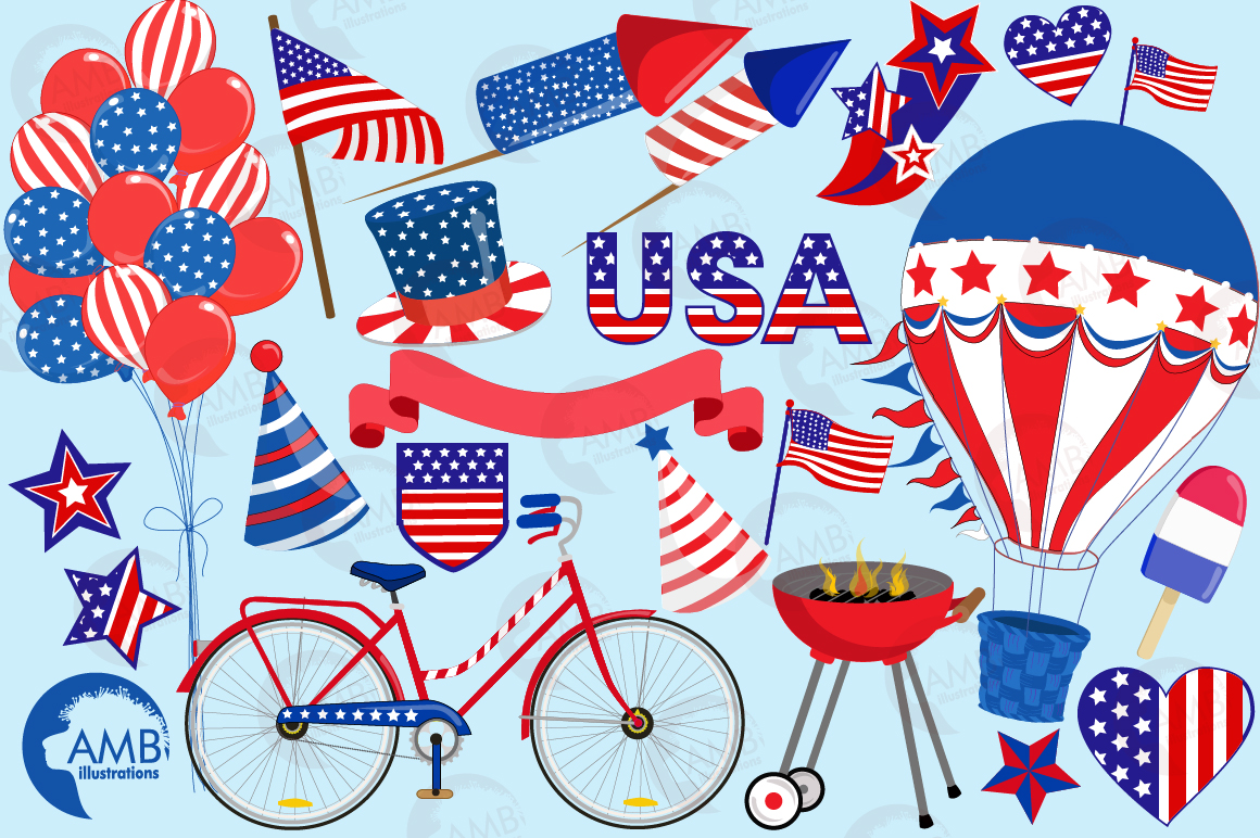 Fourth of July Cliparts, graphics, illustrations AMB-1367 example image 5