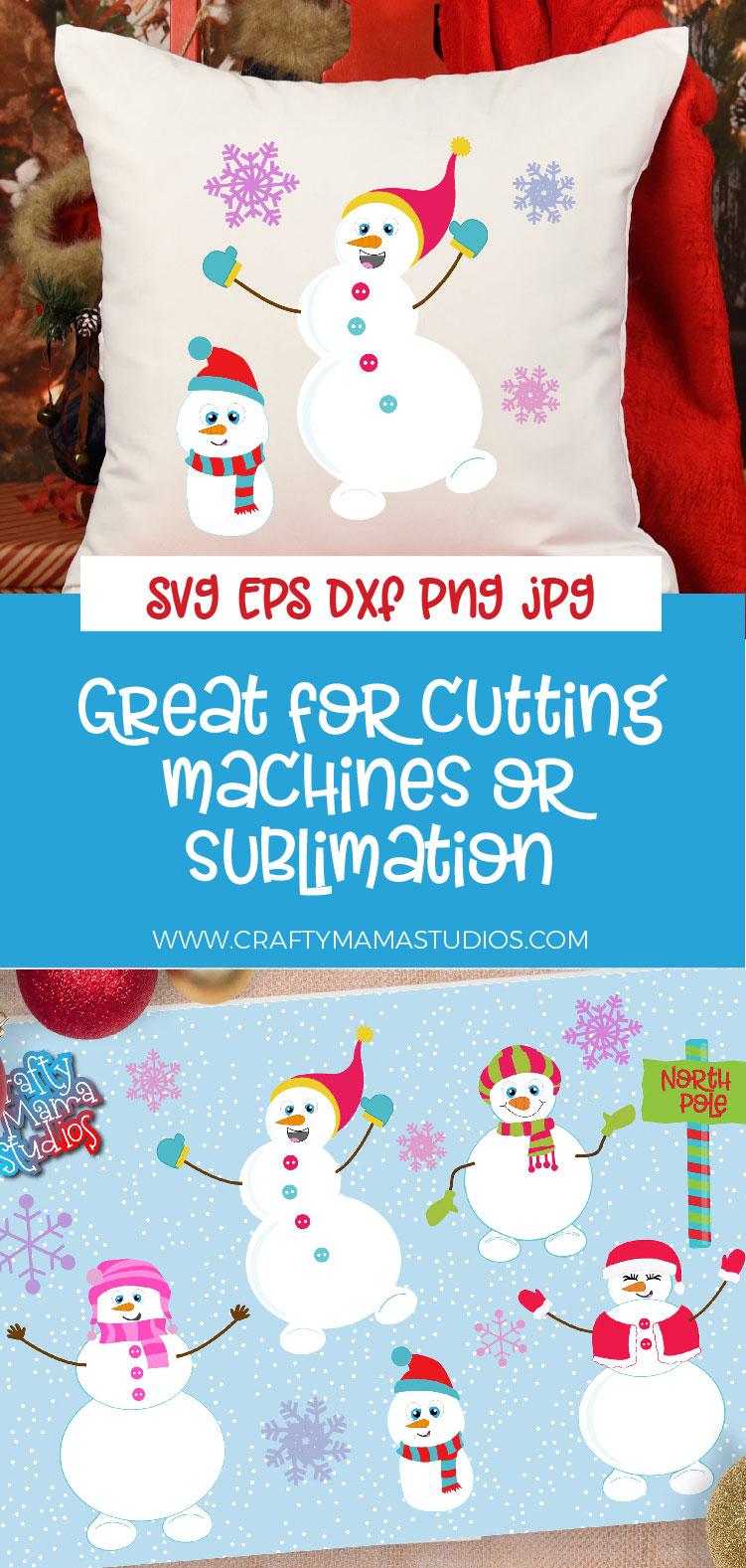 Snowman Bundle SVG, Sublimation, Snowflake SVG, Winter example image 2