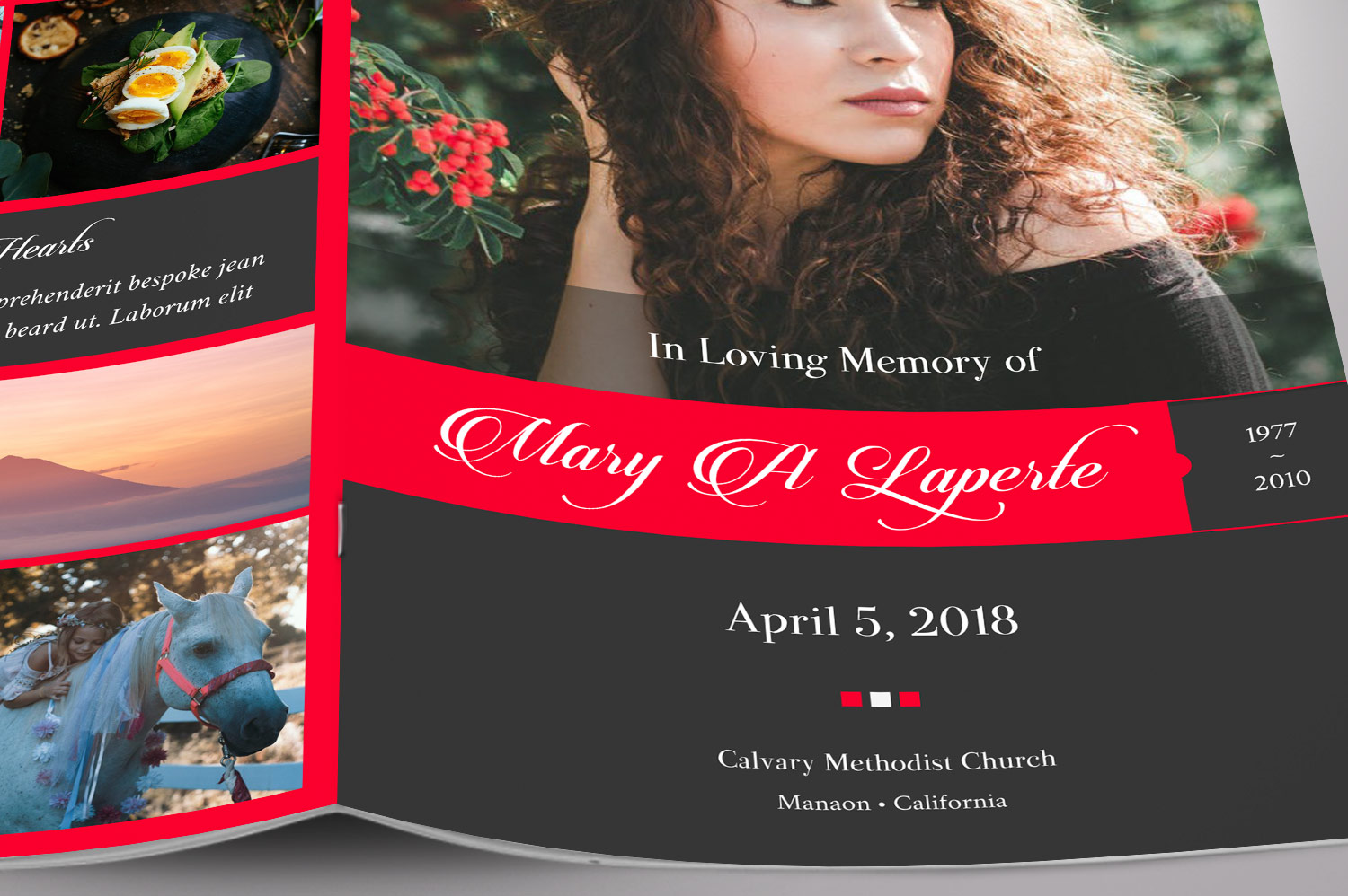 Remember Red Funeral Program Word Publisher Template 4 Pages example image 5