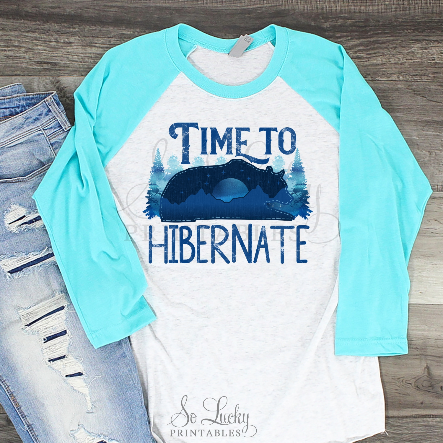 Time to hibernate watercolor printable sublimation design example image 2
