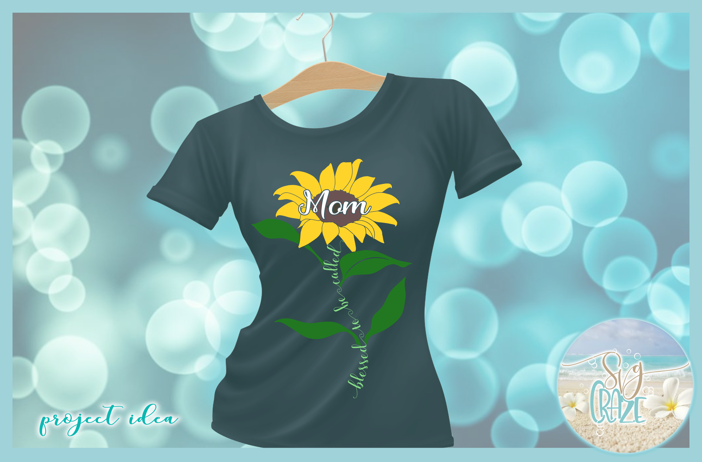 Blessed To Be Called Mom Quote with Sunflower SVG example image 2