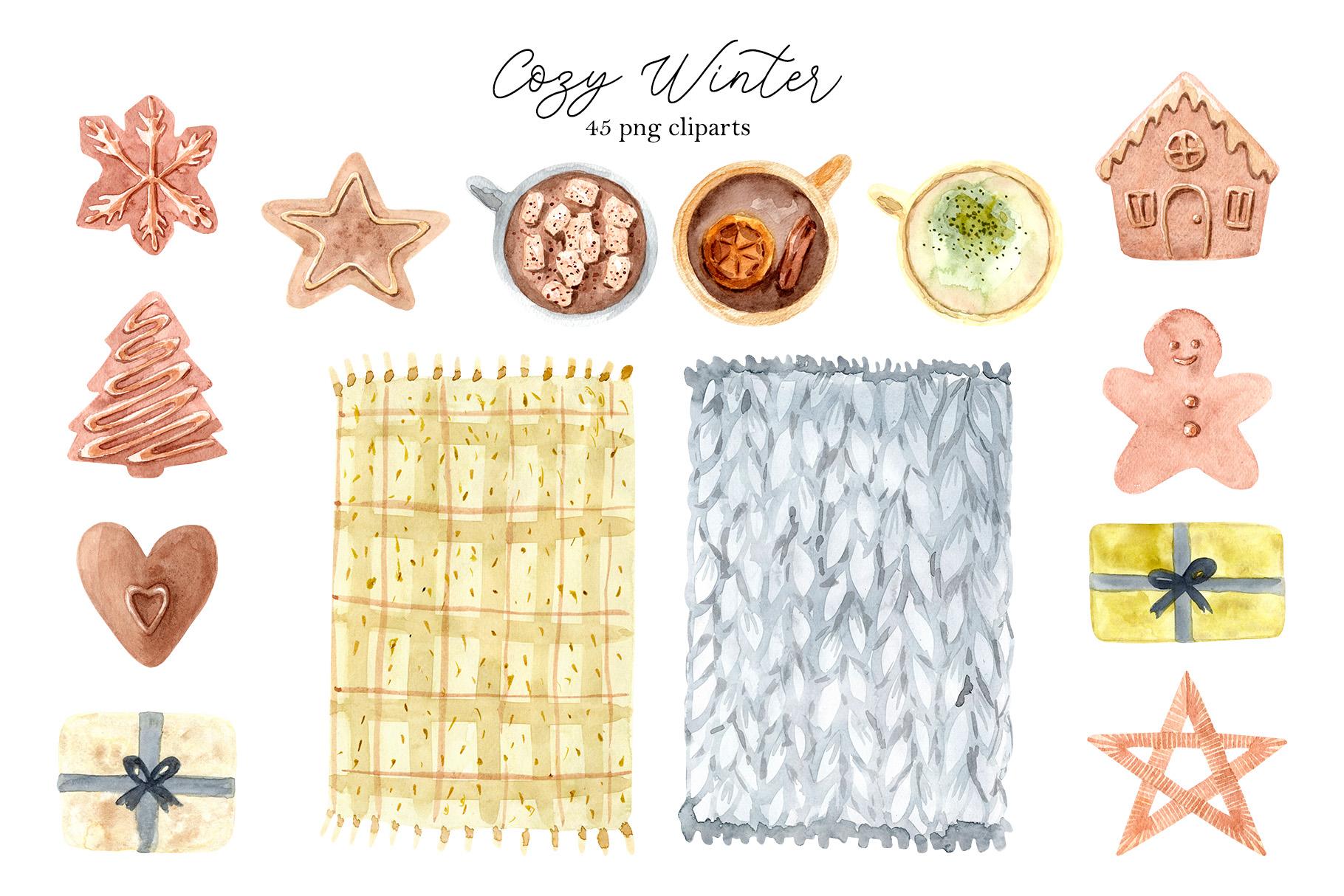 Watercolor Cozy Winter Collection example image 3