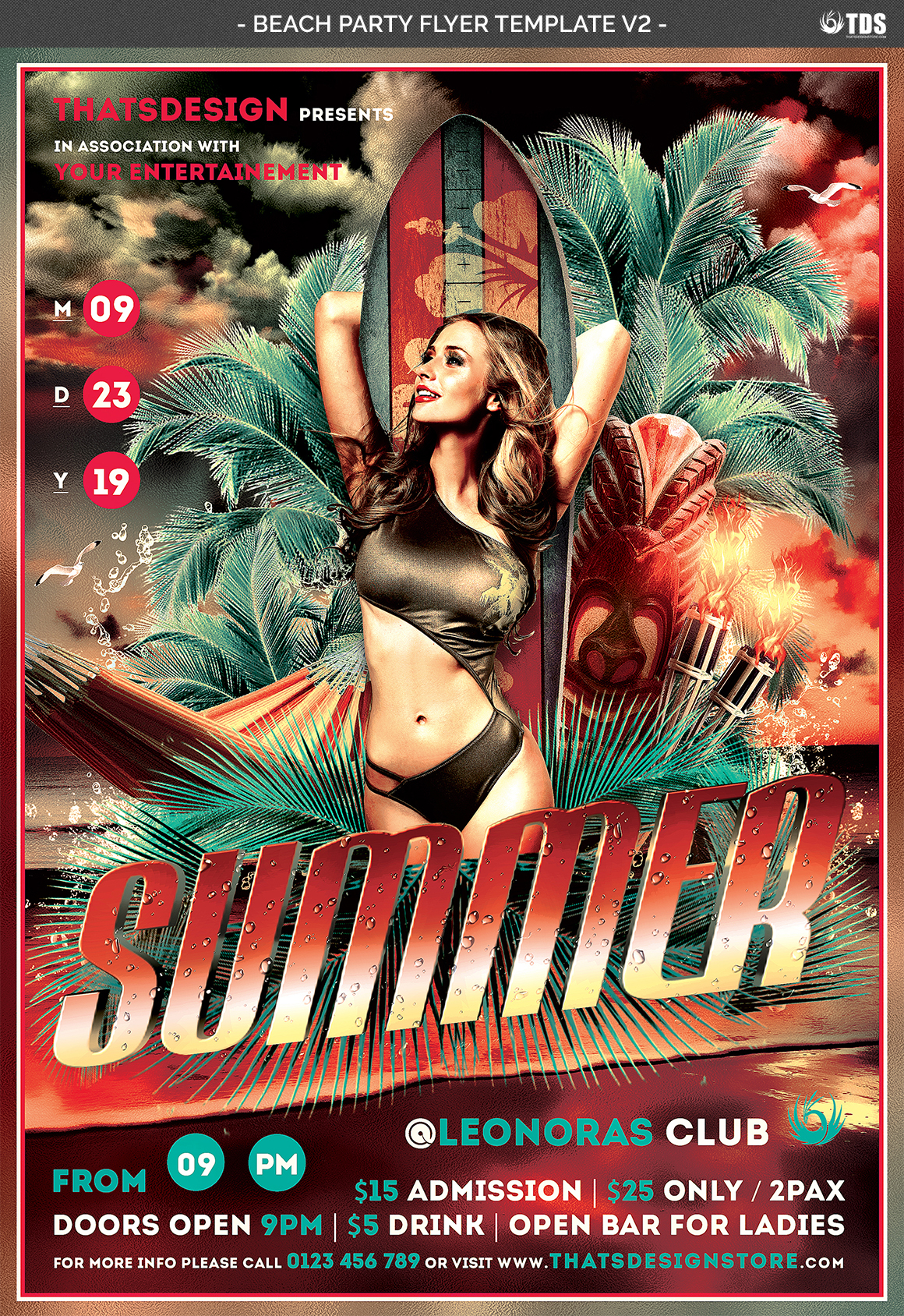 Beach Party Flyer Template V2 example image 4