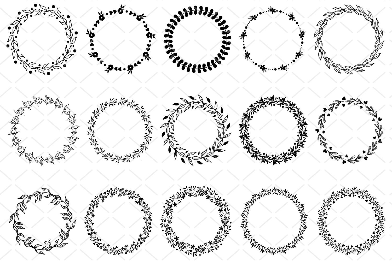 15 Round frames, circle floral frame SVG, laurel wreath example image 2