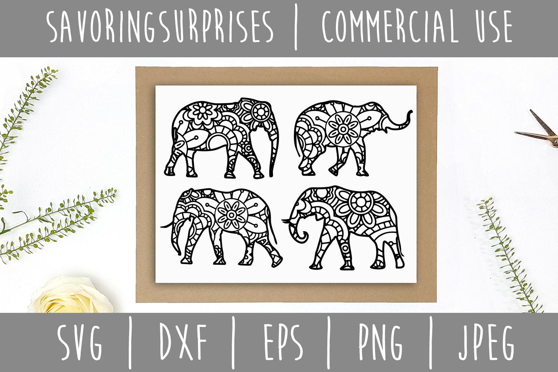 Elephant Mandala Zentangle Bundle Set of 4 - SVG example image 8