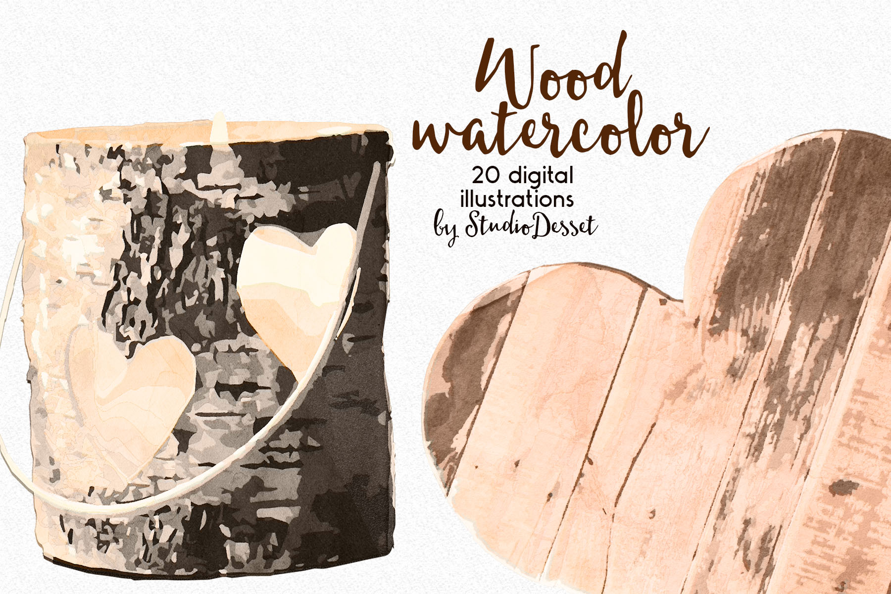 Rustic Wood Watercolor Illustrations example image 2