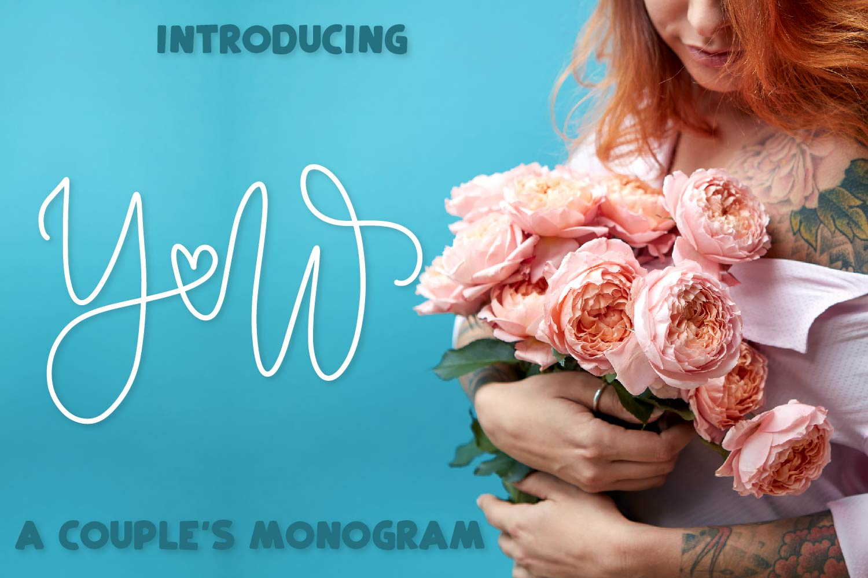 Couple Monoline Monogram Font - Perfect For Weddings! example image 1