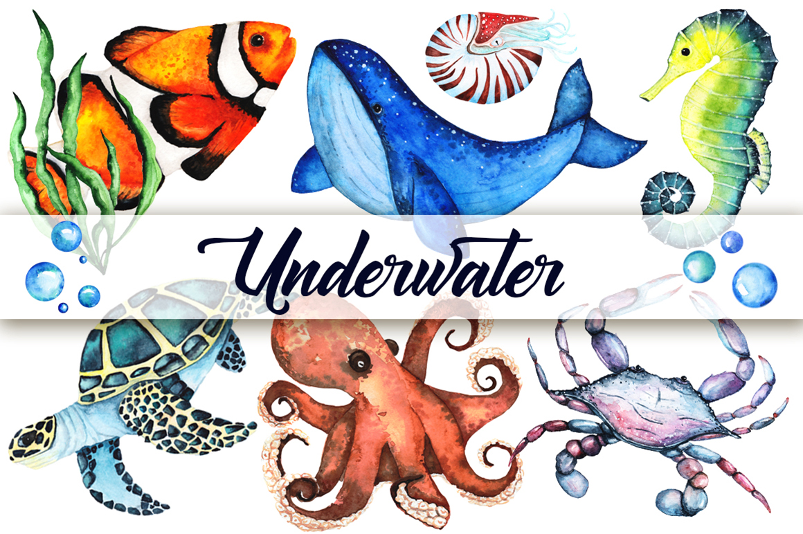 Watercolor set of sea animals example image 1