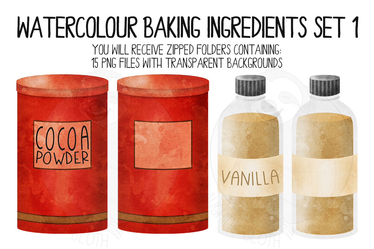 Watercolor Baking Ingredients Clip Art Set example image 5