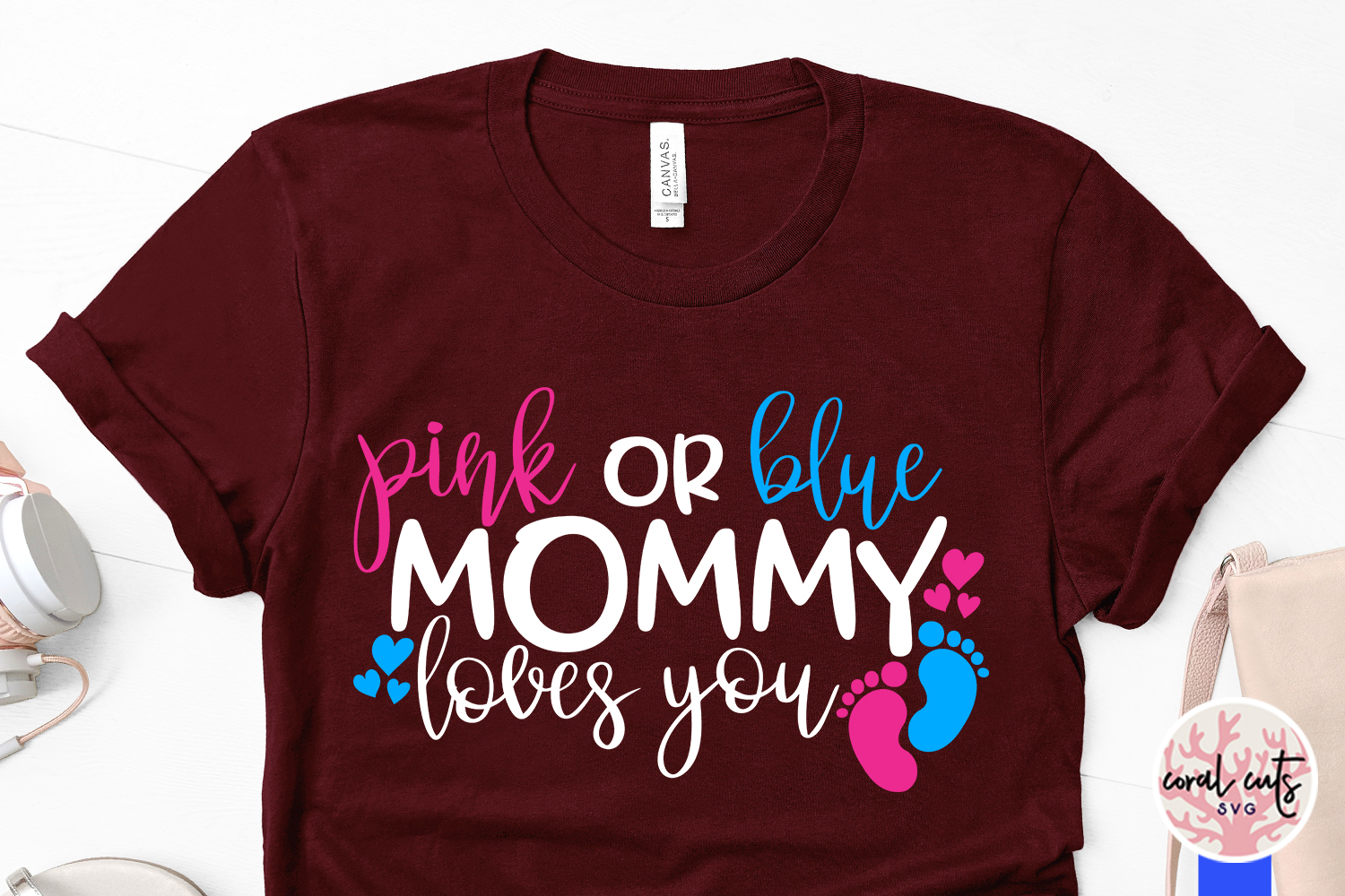 Pink or blue mommy loves you - Baby Shower SVG EPS DXF PNG example image 3