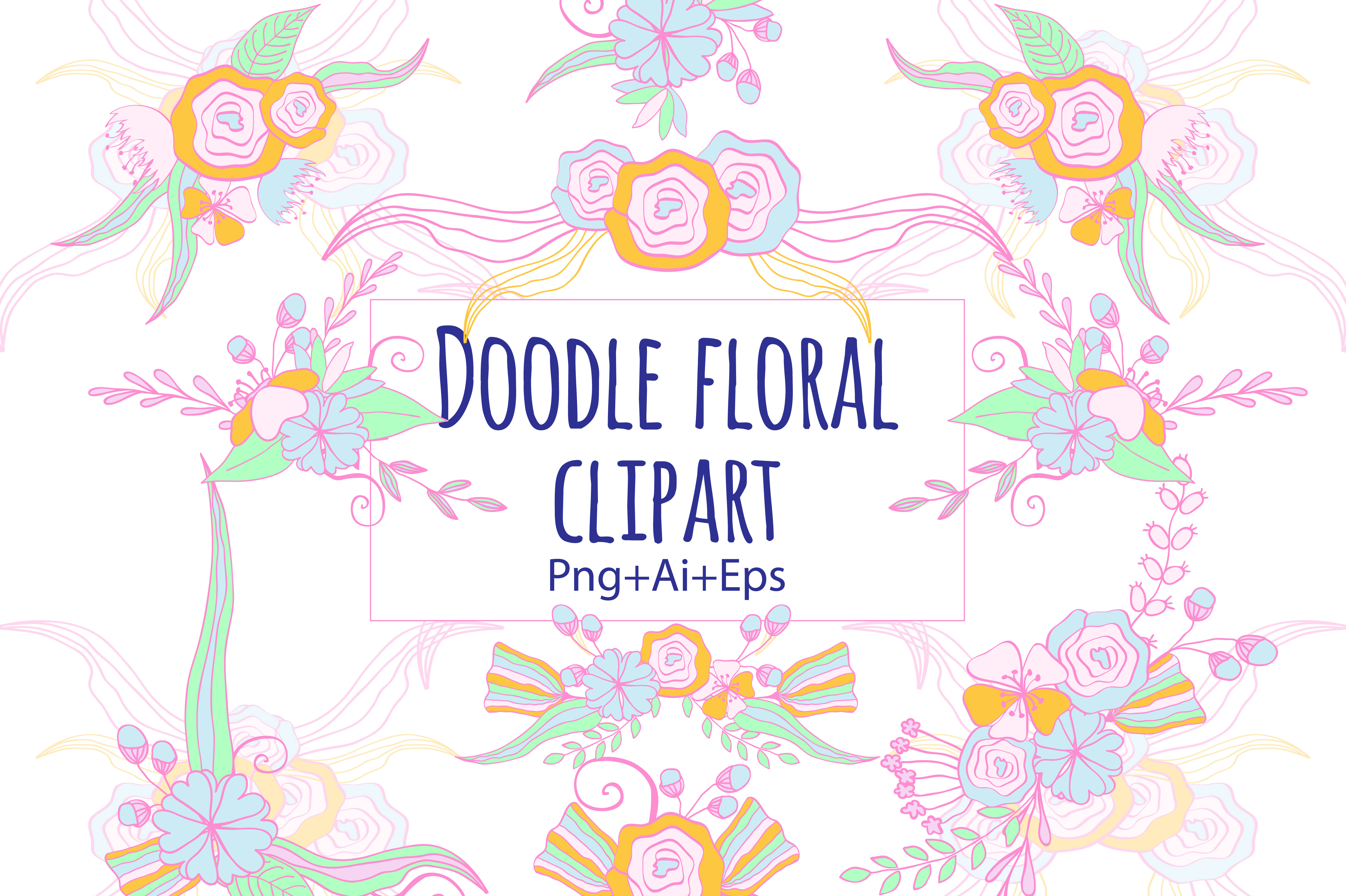 Doodle Floral Clipart example image 2