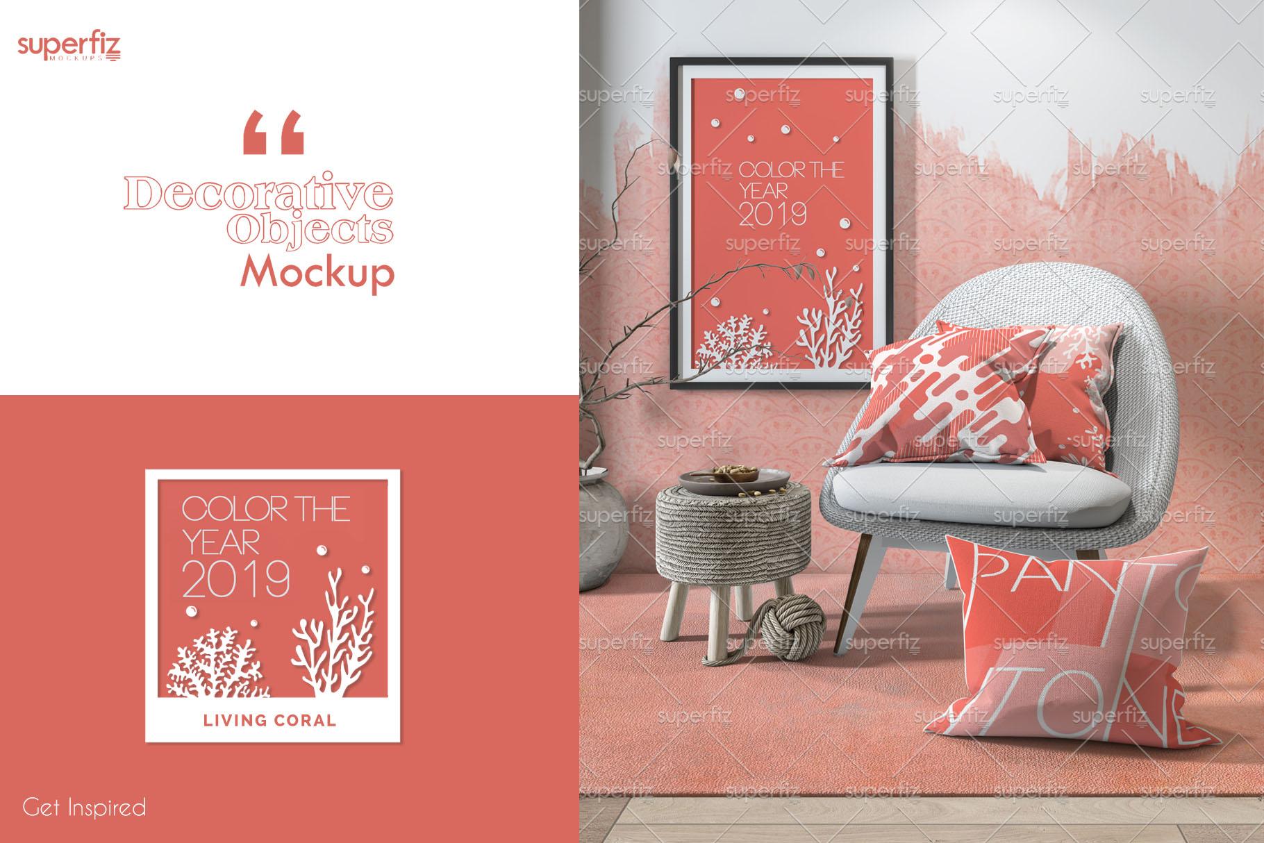 Pillows Wallpaper Frame Carpet PSD Mockup SM77 example image 2