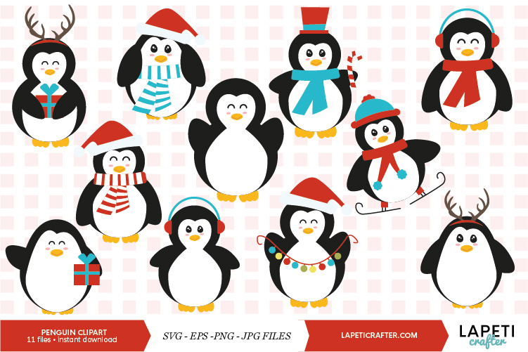 Christmas penguin clipart set, winter animals vector example image 1