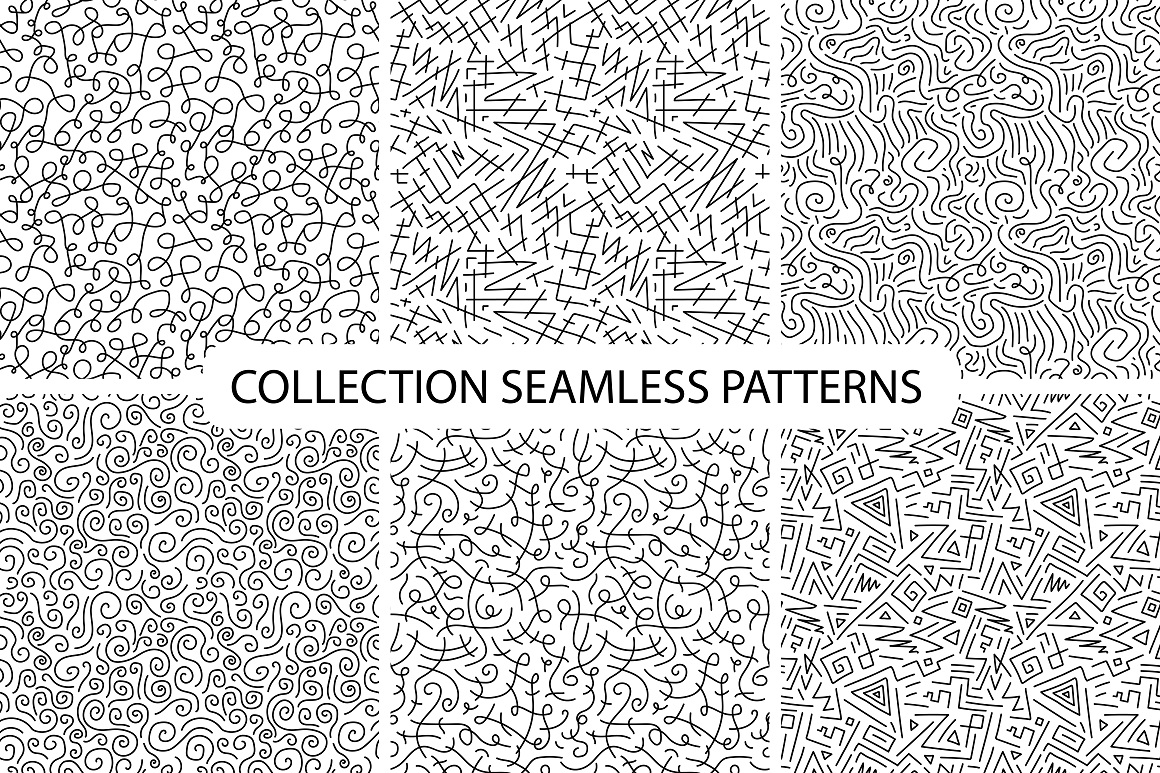 Hand drawn seamless curly patterns. example image 6