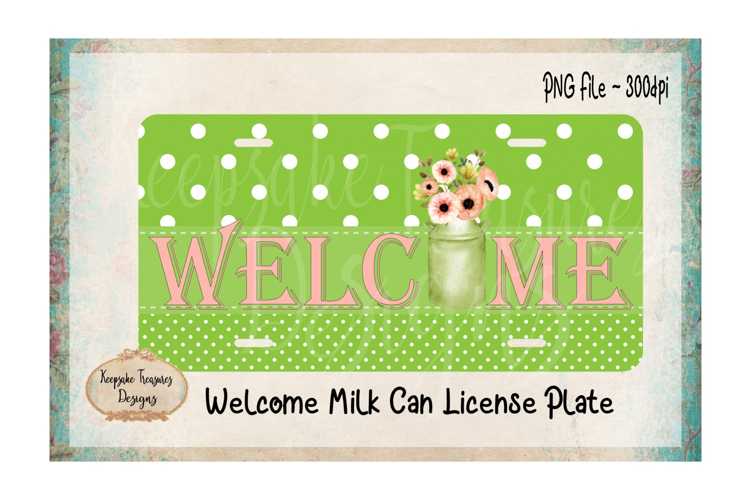 Welcome Milk Can Sublimation PNG example image 1