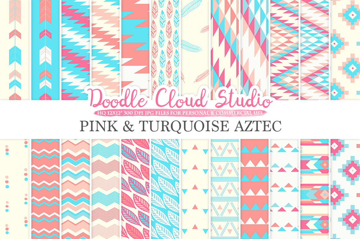 Pink and Turquoise Aztec digital paper Tribal patterns native triangles geometric ethnic arrows blue backgrounds, Personal & Commercial Use example image 1