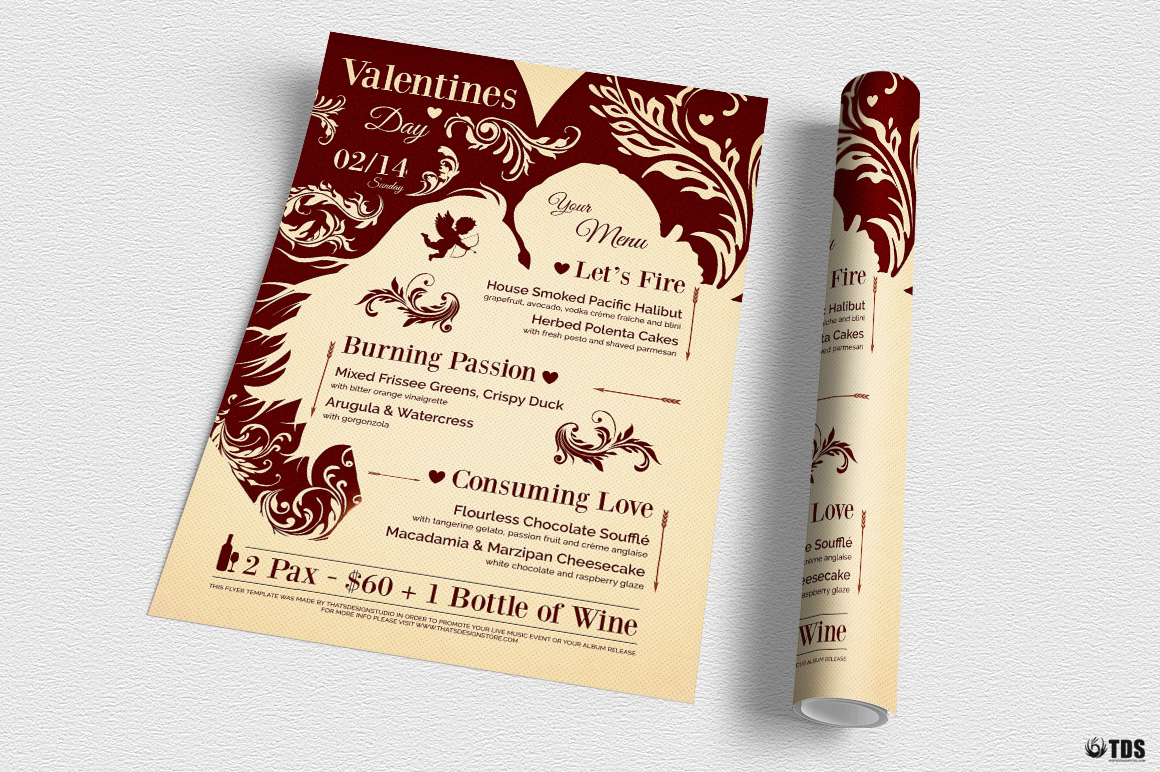 Valentines Day Menu Template V6 example image 4